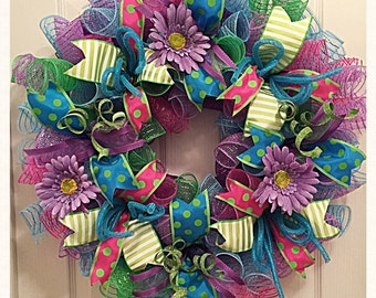 Spring Has Sprung Deco Mesh Wreath/Spring Wreath/Purple, Pink, Lime and Turquoise Spring Wreath/Purple Daisy Spring Wreath/