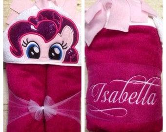 Pink Pony Hooded Towel/ Pink Horse Hooded Towel/ Kids Hooded Towel/ Childs Hooded Towel/ Pony Towel/ Horse Towel/ Pony Birthday