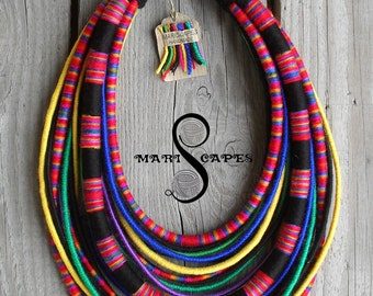 Lowicz Girl - POLISH FOLK-inspired yarn-wrapped necklace / tribal / hippie / bohemian / folk / pink / colorful / rope