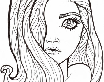 Digital Stamp The Girl Wonders Adult Coloring Page With Long Hair