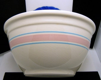 Fabulous Pink Blue Band McCoy Kitchen Bowl Holds 5 Quarts Plus
