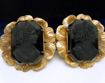 Vintage Antique Buckle Set Signed FNCO Fishel Nessler Black Glass Cameo