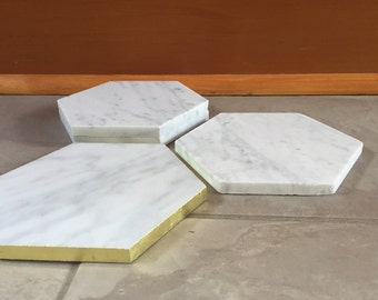 Hexagon Marble Coasters (4) -Set of Four