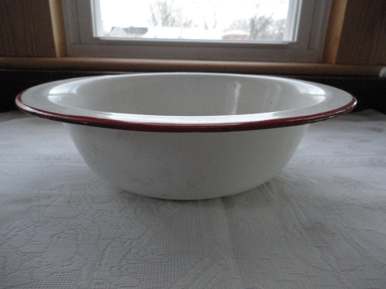 White Enamelware Basin Red Trim Hanging Bowl Wash Basin
