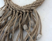 rope knitted collar- pumice decoration- natural elements- summer statement- volume necklace- plain jewelry- beach finds