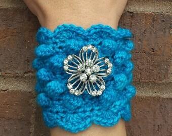 Handmade Crochet Boho Cuff Bracelet With Rhinestone Flower, Turquoise
