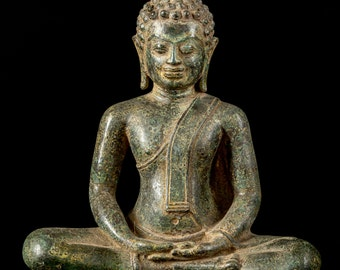 "Antique 19th Century Southeast Asia Thai Meditation Buddha Statue - 25cm/10"""