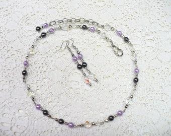 OOAK Vintage Repurposed AB Crystal - Purple/Black Beaded Necklace/Earring Set - adjustable necklace- pierced - Bridesmaid gift - WEDDING