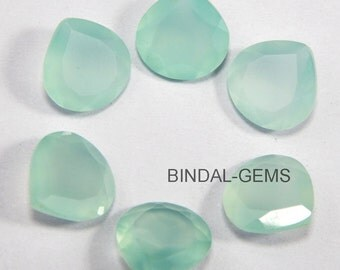 15 Pieces Lot Aqua Chalcedony Heart Faceted Cut Loose Gemstone