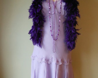 1990s Upcycled Reproduction Lavendar Sheer Crepe Dress for Flapper Gatsby Costume Medium Large #14