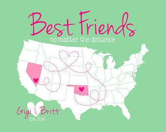 Best Friends Gift, Long Distance Friendship -  Personalized Map Art Print, Birthday Gift for Best Friends, Sister, Childhood Friend | WF63