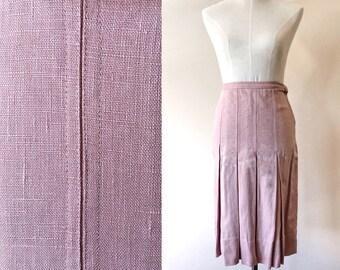 Vintage pleated skirt // vintage dusty pink skirt // vintage pencil skirt