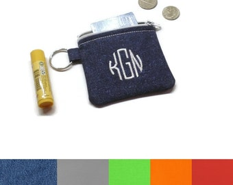 Custom personalized monogrammed coin purse zippered pouch, CHOOSE YOUR COLORS! Personalized gifts under 15. Stocking stuffer.