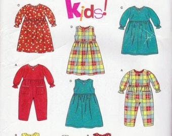 New Look  Pattern6664, Toddlers Rompers, Dresses and Tops Sewing Pattern, Sizes 6 Months to 4 Years
