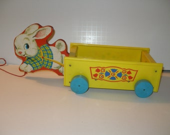 Sweet Vintage  Bunny Cart Easter Rabbit Pull Toy Wood & Plastic Wagon Fisher Price