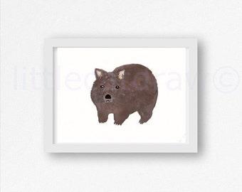 Wombat Print Watercolor Painting Art Print Illustration Wombat Illustration Art Print Unframed Bedroom Wall Decor Wall Art