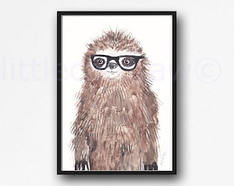 Geeky Sloth Print Cool Nerd Wearing Glasses Sloth Watercolor Painting Unframed Animal Art Print Littlecatdraw