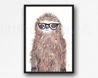 Sloth Print Geek Sloth Cool Nerd Wearing Glasses Sloth Watercolor Painting Wall Art Animal Art Print Bedroom Wall Decor Sloth Gift
