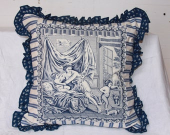 """18"""" x 18"""" A romantic scene in blue and cream toile"""