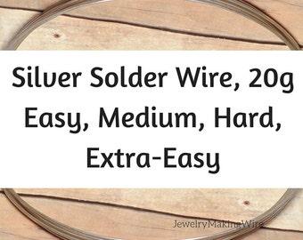 Silver Solder Wire, 20 Gauge, Silver Wire Solder, Easy Solder, Extra-Easy, Medium, Hard, 5 feet
