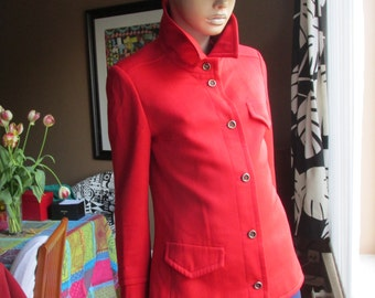 Vintage Jaeger of London pure wool jacket.Vintage red wool fitted jacket.