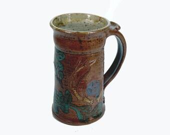 Large Mug Toasting Beer Stein Pentacle Antler Oak Leaf Pottery Stein