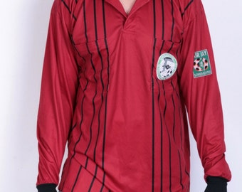 Erima Mens XXL Polo Shirt Red Striped Schiedsrichter Im Fussballverband Niederrhein E.V.
