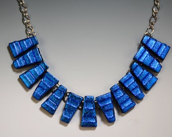 Royal Blue Dichroic Glass Tab Necklace on Silver Chain