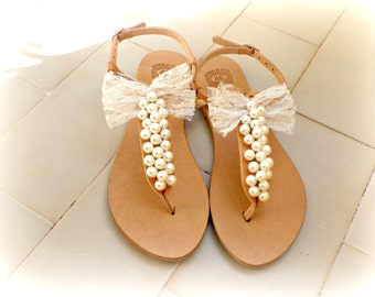 Wedding sandals- Bridal shoes -Greek sandals decorated with ivory pearls and ivory lace bow -Summer sandals- women shoes- Bridal party flats