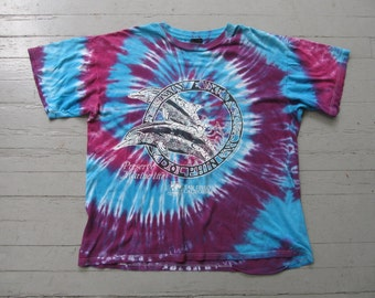 Vintage 90's Tie Dye T-Shirt Preserve Marine Life Earth Children San Diego California Size XL
