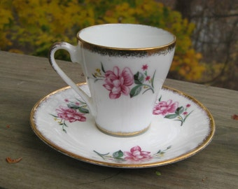 Rose and Gold pattern Demitasse Cup and Saucer set