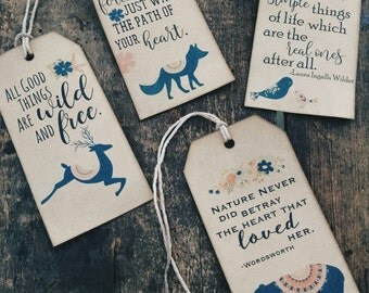 Follow Your Heart Gift Tag Set, 4 layouts included, tribal, wilderness, boho, gift tags, set of 12
