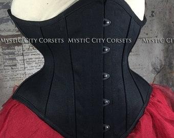 Black cotton underbust waist training tightlacing steel boned corset MCC-72 MystiC City Corsets