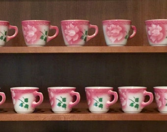 Vintage Syracuse China  Airbrushed Rose Restaurant Ware Coffee Cups
