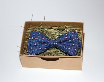 Blue bow tie, Floral bow tie, Bow tie for men, Men's bow tie, Bow tie for boys, Rustic bow tie, Wedding bow tie, Party bow tie, Gift for men