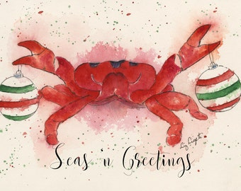 """Watercolor, Holiday, Seasonal, Christmas Greeting Card of Red Crab, blank inside, 5""""x7""""-Single or Packages of 5 or 10"""