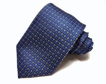 Silk Tie in Navy Blue and Charcoal Grey dots and circles