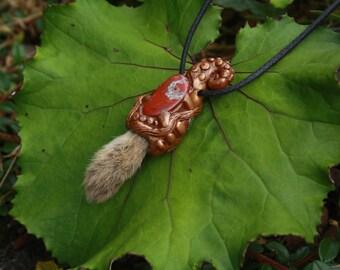 Roadkill rabbit foot and Jasper stone necklace
