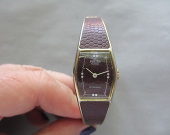 Ladies Mortima 15J Mechanical Bangle Watch 1970s Textured Chocolate Brown Works