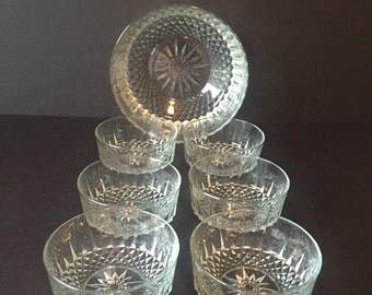 Vintage Salad Bowl Set, Glass Salad Serving Set, Fruit Bowls, Arcoroc Salad Bowls, Diamant Pattern Arcoroc Bowls, Set of Seven