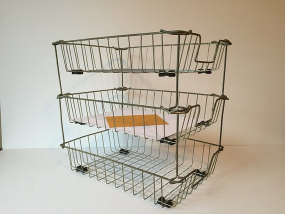 vintage wire baskets industrial metal letter trays stacking storage baskets file baskets