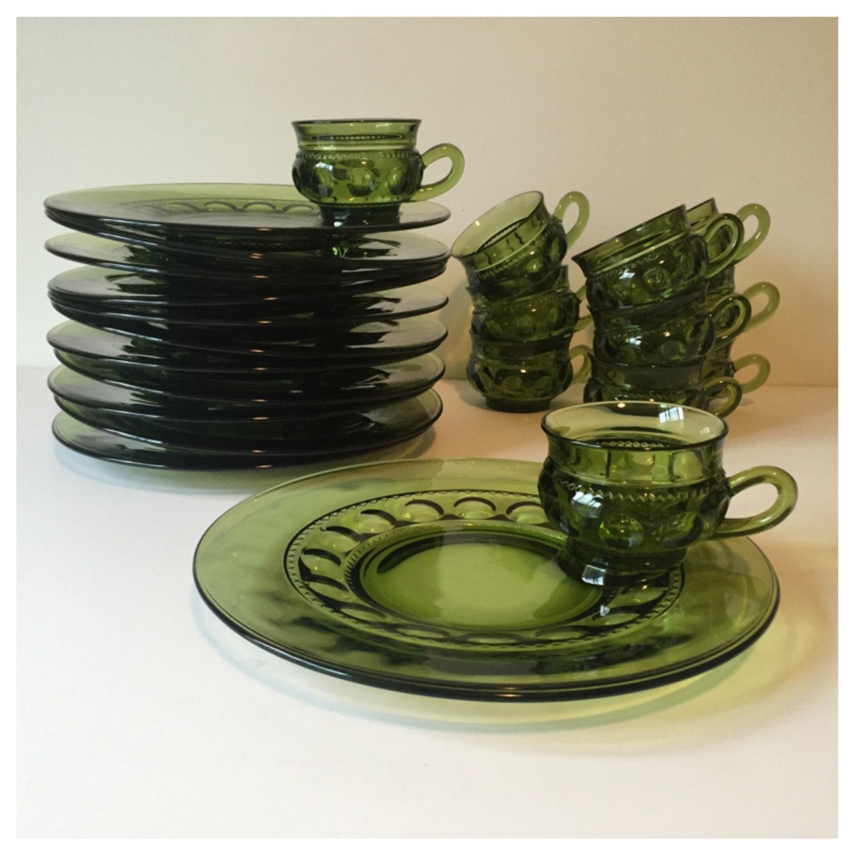Vintage green snack sets indiana glass plate set mid