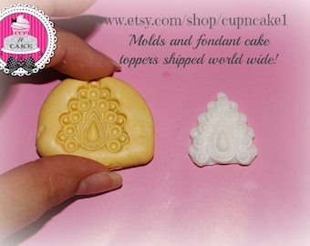 Jewel brooch mold for fondant or clay