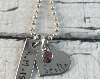 Mother's personalized hand stamped birth day necklace