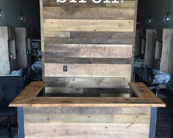 Indistrial Style Reclaimed Wood Reception Desk