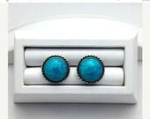 Silver Rope Edged and Turquoise Stone Vintage Earrings - Gift Idea - Summer Jewelry - Turquoise Earrings - Summer Gifts