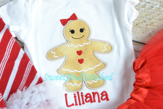 Girls Christmas Gingerbread shirt personalized, personalized girls christmas outfit, gingerbread girl outfit!  Christmas tutu outfit