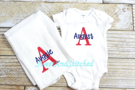 Newborn boy outfit, baby boy gift set in red and blue, baby boy monogrammed outfit and newborn hat, Baby boy take home outfit personalized