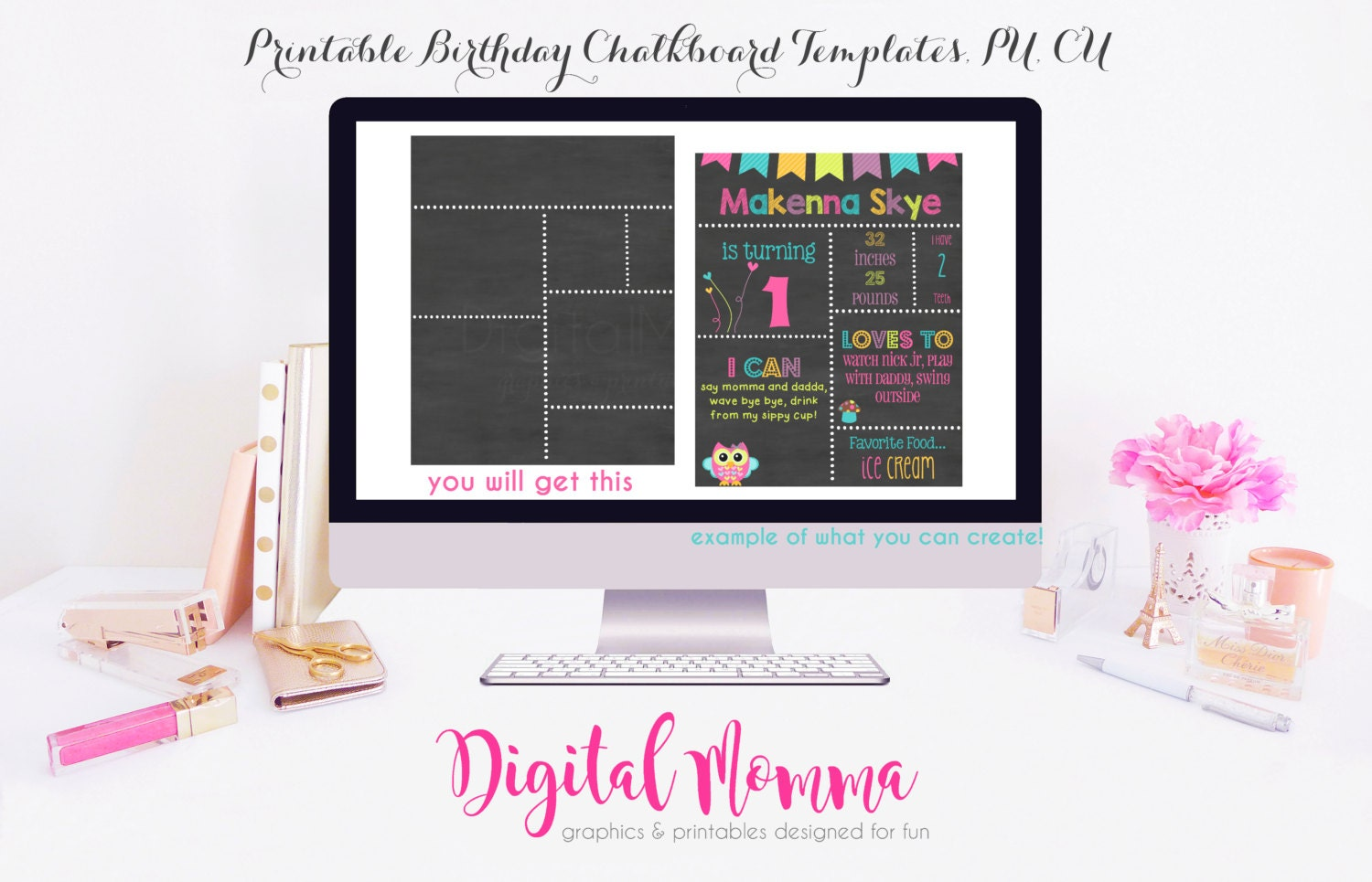 Printable diy blank birthday chalkboard template high resolution jpg file personal for 1st birthday chalkboard sign template free