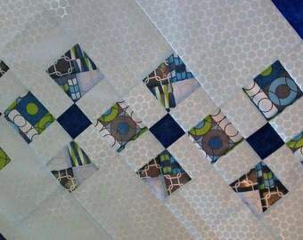 Baby boy quilt modern geometric blue gray green white